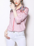 Slim-fit pink printed lapels long-sleeved woman shirt