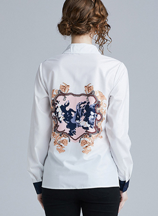 Spring fashion long-sleeved printed wild personality slim temperament shirt