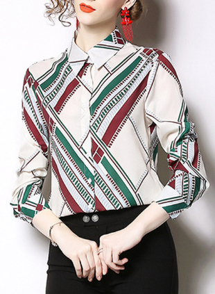 Spring fashion slim printed long sleeved versatile shirt top