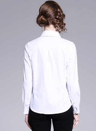 Spring professional wild white long-sleeved blouse