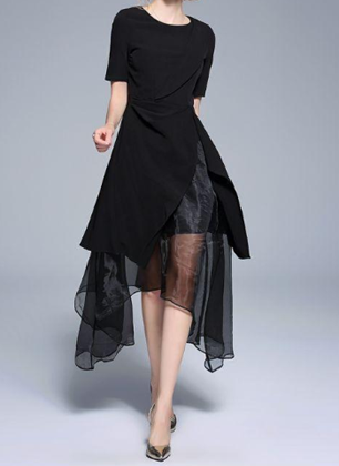 Summer short sleeve irregular plus size little black dress