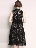 Summer slim slimming sleeveless vest lace little black dress