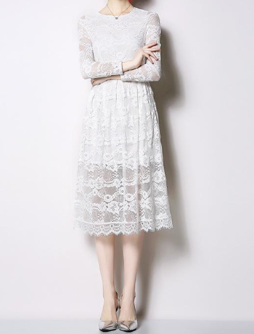 Temperament commuter round collar slim thin lace elegant openwork solid color long sleeve dress