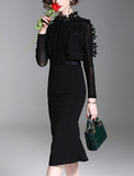 Temperament pure color water soluble lace stitching long sleeve slim slimming fishtail dress