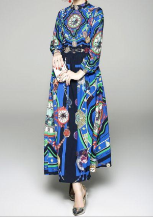 Temperament stand collar fashion print slim long sleeve dress