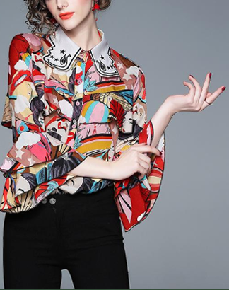 Temperament trumpet sleeve long sleeve print fashion embroidery slim shirt