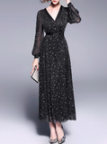 Temperament V-neck lantern Sleeve slim long fashion little black dress