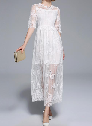 Temperament white openwork lace transparent little maxi dress