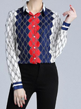 Trend lapel long-sleeved positioning printed blouse