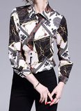 Trendy print slim long sleeve joker lapel shirt export