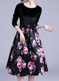 Velvet stitching long sleeves temperament cute plus size dress