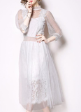 White fashion wild seven-point sleeve mesh stitching slim long dress