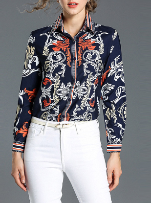 Women's personality print slim long sleeve wild lapel trend shirt
