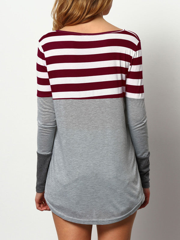 Fashion tri-color stitching striped long-sleeved long female T-shirt