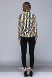 New fashion wild slim lapel long sleeve striped long-sleeved blouse