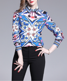Temperament elegant fashion printed women's shirts for sale online