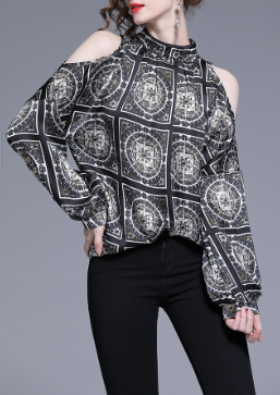 Fashion sexy retro print temperament loose off-shoulder long-sleeved chiffon shirt