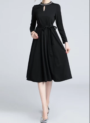 Fashion long sleeves black plus size formal dresses online shop for sale