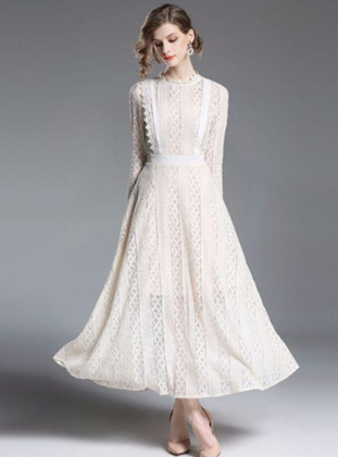 Temperament elegant beige maxi long sleeve lace dress