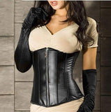 Black leather zippered chest and waist seal fashion corset