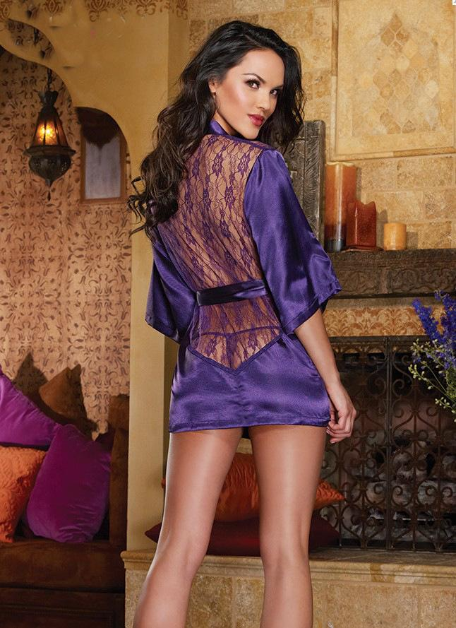 Red Purple Five-sleeve silk back lace-up bathrobe-style fun plus size pajamas