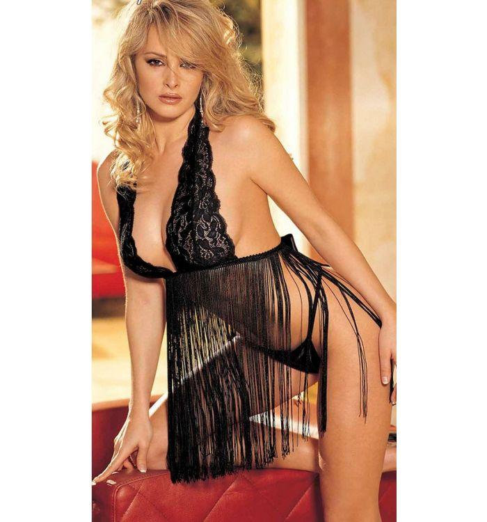 Black Open back sling lace tassel perspective temptation pajamas