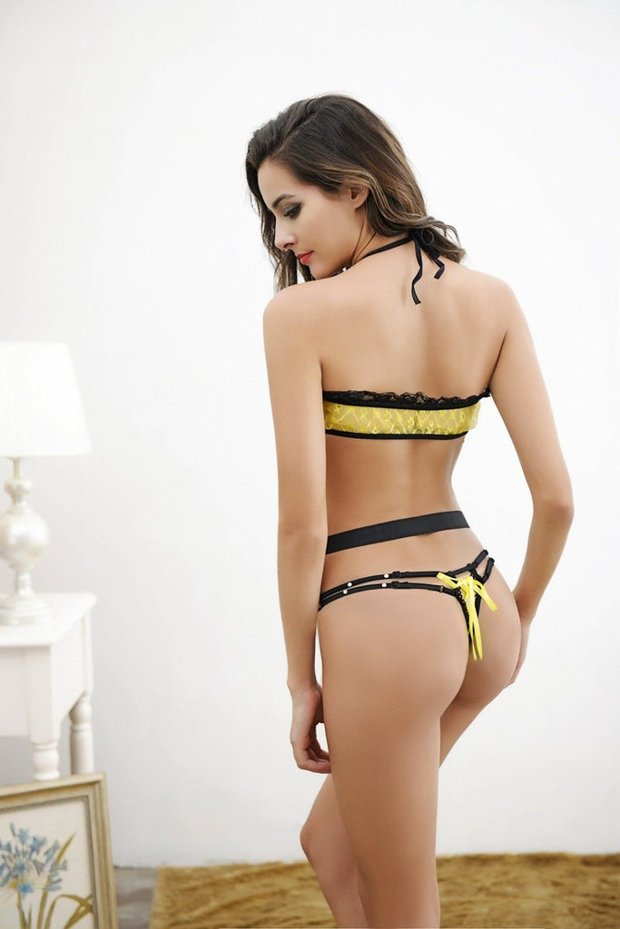 Red Yellow Cross strap perspective lace erotic sexy teddy lingerie