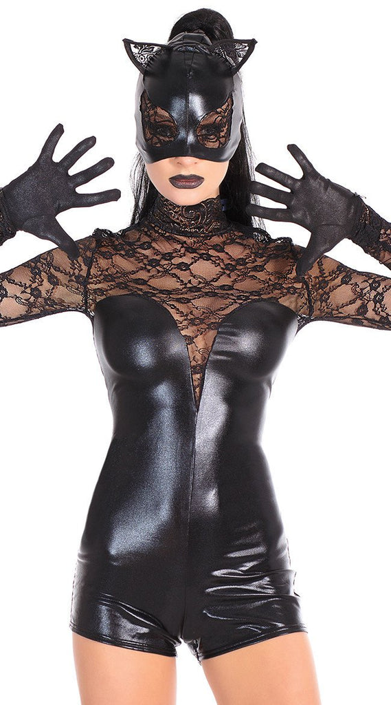 Black fashion masked imitation patent leather lace catwoman costumes