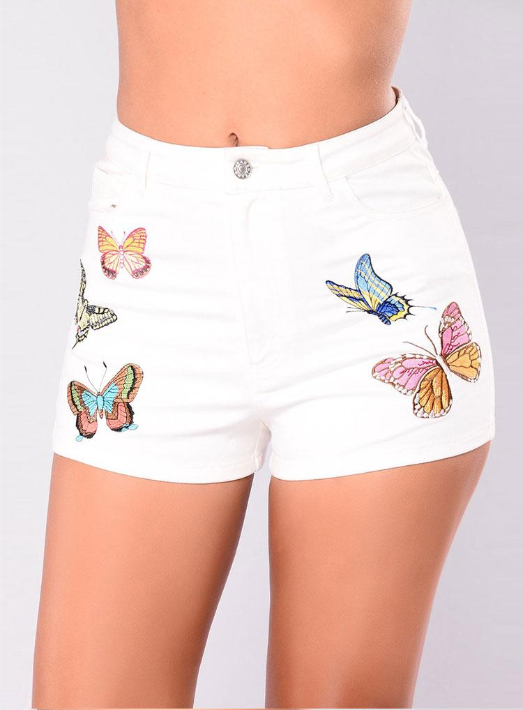 Sexy female white printing Slim denim shorts