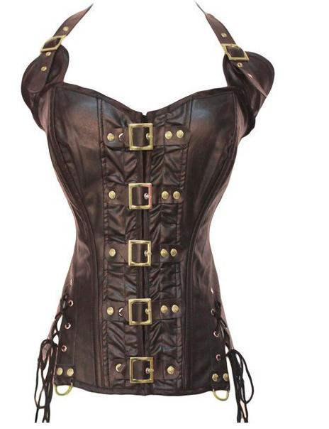 Brown Faux leather gathered waist slimming body corset