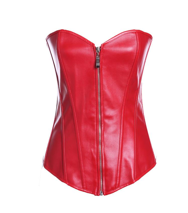 Red V-neck zippered leather retracts the chest corset