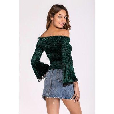 Autumn Black and Dark green women's one-neck pleated  long-sleeved T-shirt