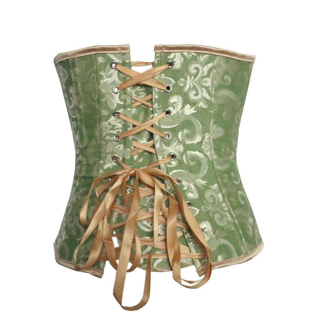 Blue Green fashion jacquard body shaping beam waist underbust corsets