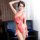 Pink halter bandage lace backless sexy charming teddy lingerie