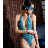 Green Eye-catching lace pieced-deep V-back erotic lingerie