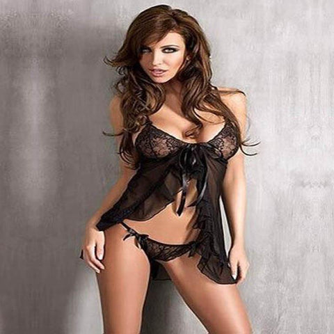 Placed diagonally split bow Lei mesh yarn transparent sexy pajamas