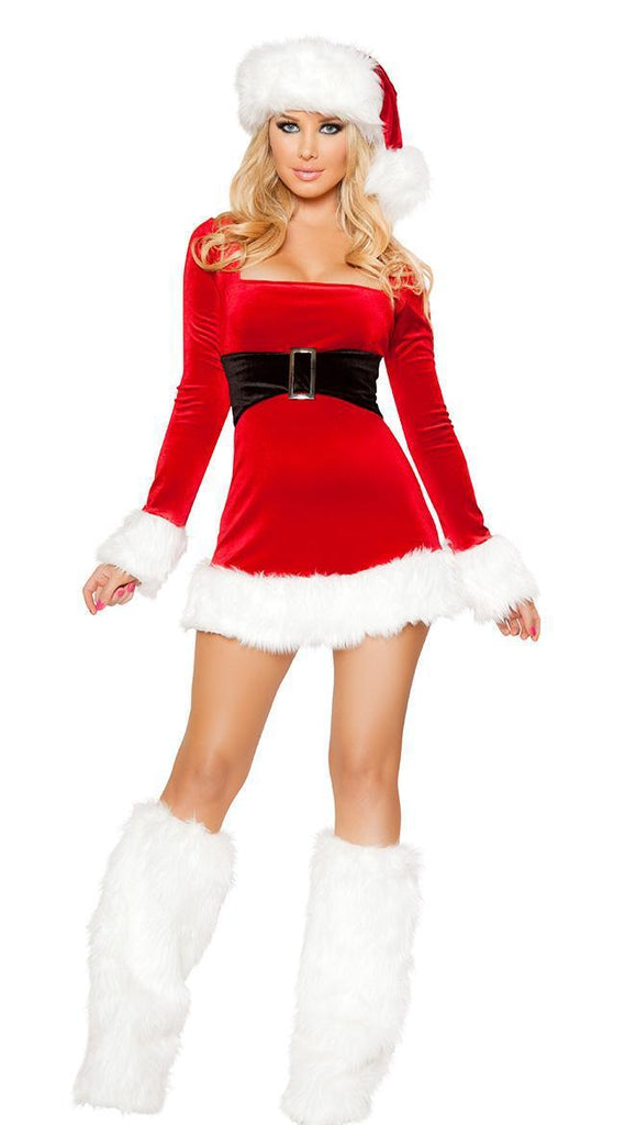Red long sleeve white edge Christmas Party clothing