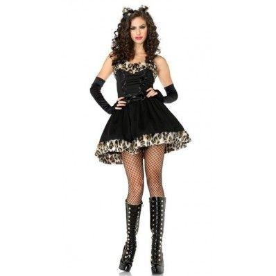 Elegant charming Tube Top Leopard Cat woman dresses