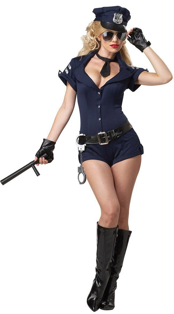 Halloween blue woman police uniform cosplay