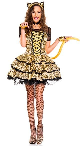 Halloween new yellow woman leopard costumes with tail