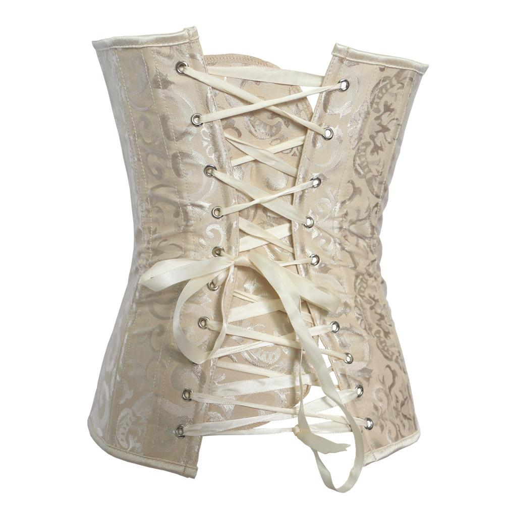 Apricot Red White classic zipper without lace overbust corsets
