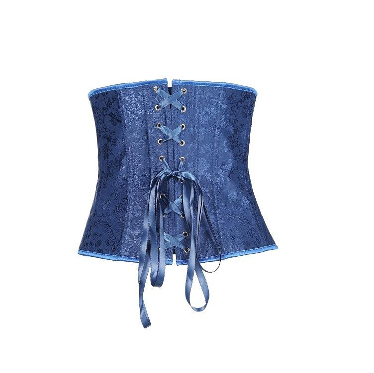 Blue fashion dragon flower waist clip underbust corsets
