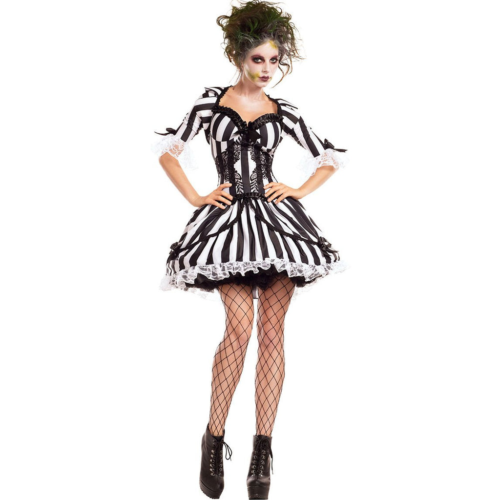 New black and white striped ghost bride costume