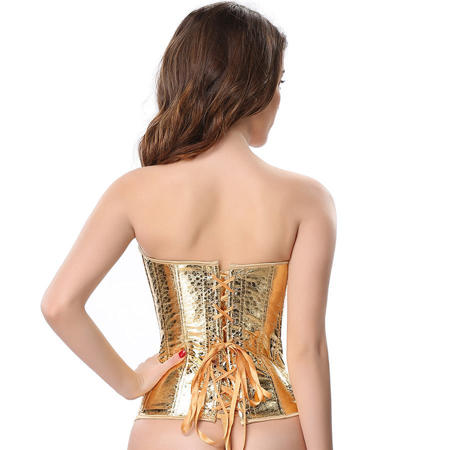 Gold fashion leather sequined steel buckle sexy corset