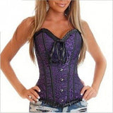 Europe and America Hot Sales purple red sexy jacquard steel buckle corset