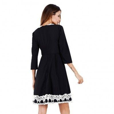 Black Red fashion Pure color five-point sleeve summer dress