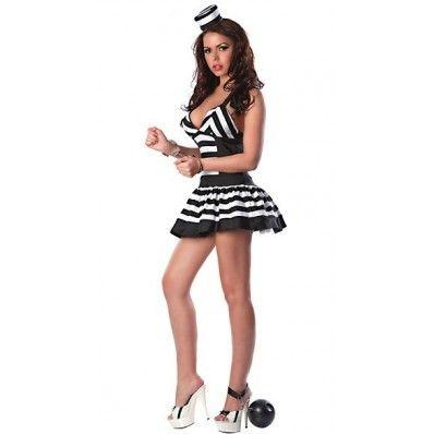 Black and white stripes burst milk fashion women prisoners Costumes