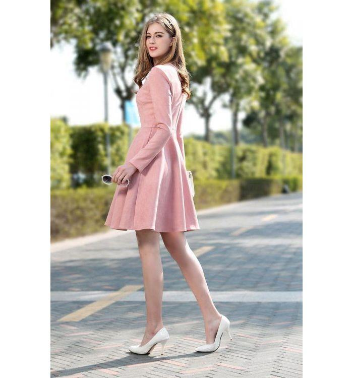 Autumn winter fashion long sleeves cute pink plus size dress