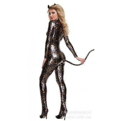 Leopard cat girl tail containing pants coveralls
