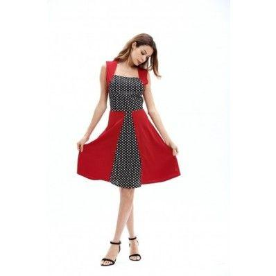 Slim hit color square collar big swing plus size dress